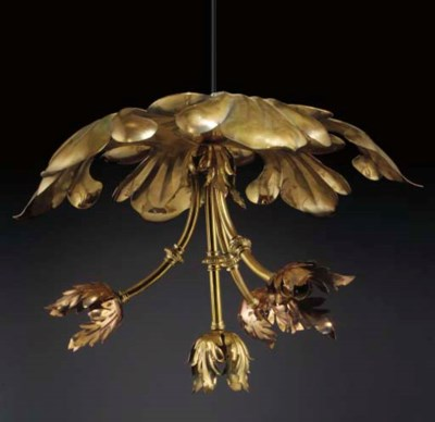 A Brass and Copper Ceiling Lig