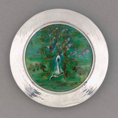 A Silver and Enamel Pot and Co