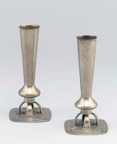 A Pair of Tudric Pewter Vases