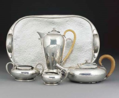 An English Pewter Tea Service