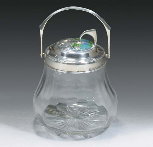 A Silver, Enamel and Glass Pre