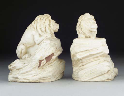 Two Carrara Ware Lions