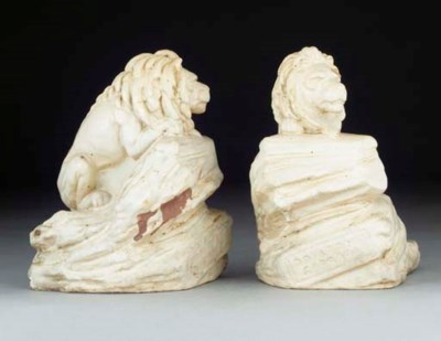 Two Carrara Ware Lions