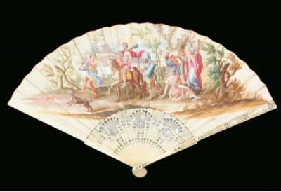 A fan, the vellum leaf painted