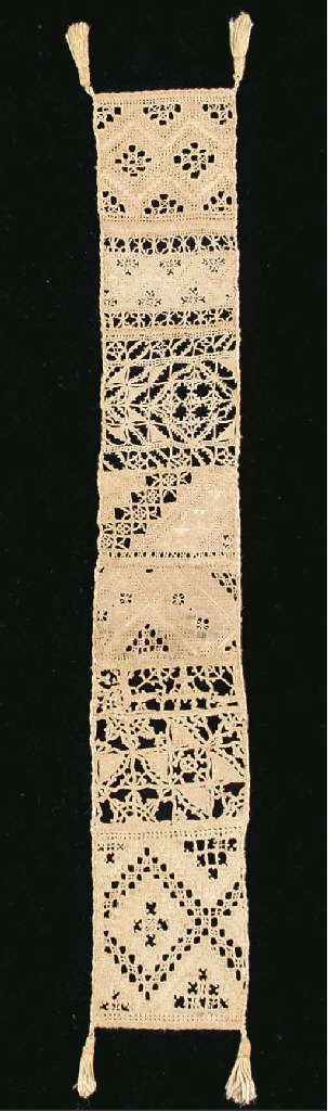 A fine needlelace linen sampler, comprising a series of cutwork and Reticella band, one Reticella featuring a figure of a woman, with tassels to each corner--23½ x 3in. (60 x 9cm.), mid 16th century