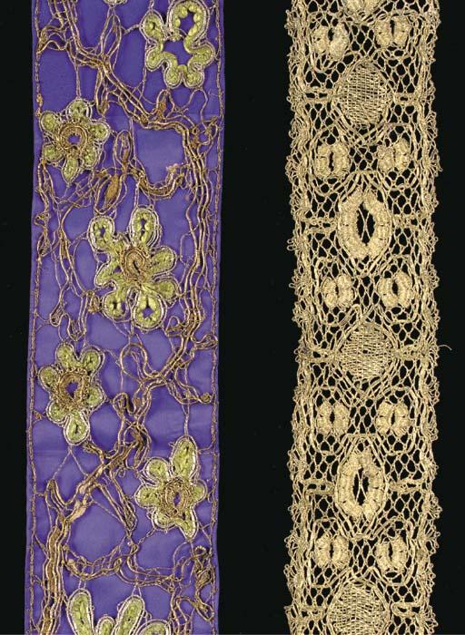 A rare border of bobbin lace,