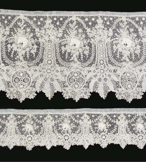A flounce of Point de Gaze lace, featuring unusual layered repeat rose sprigs and swags, above an alternate medallion, leaf and flowerhead scalloped border, with a variety of filling stitches--8 x 200in. (20 x 500cm.); matching edgings, each--3in. (8cm.) deep; a silk ribbon printed and painted in colours with ships on the high seas, mid 19th century; and a collection of mauve silk sateen dress trimmings and accessories (a lot)See Illustration