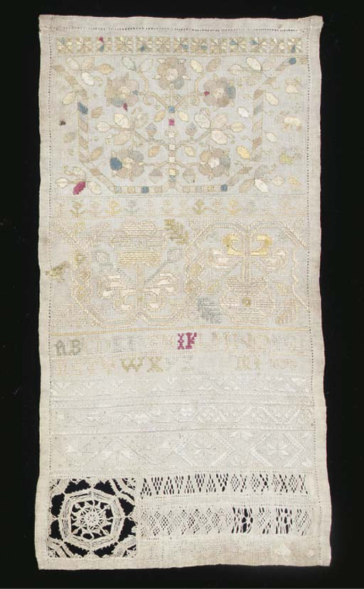 A linen band sampler worked by