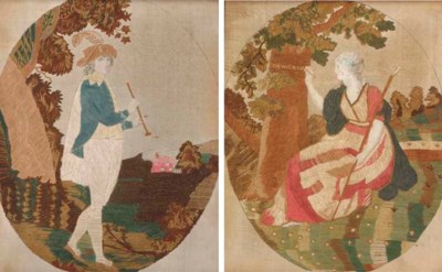 A pair of silkwork pictures, w