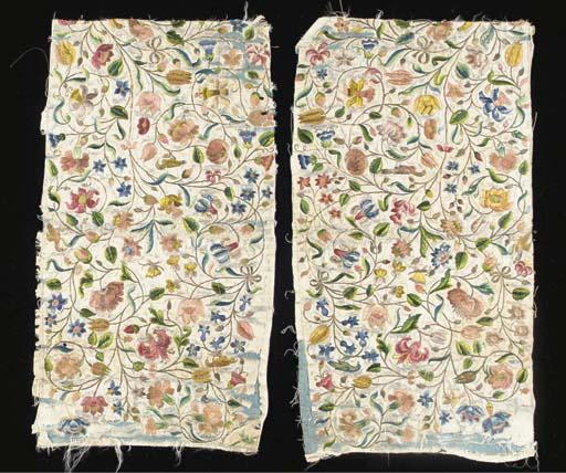 A pair of needlework panels, p