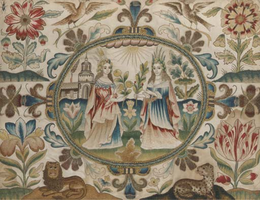 A needlework panel, worked in