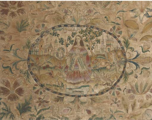 A needlepoint picture, worked in coloured silks and metal  threads to a cream satin ground, the central oval depicting a lady  holding a floral wreath with griffins beside her and castles in the  distance, reserved against a floral motif ground featuring further  griffins, insects, a lion and stag -17½ x 22in. (45 x 56cm.),late 17th century, within a glazed frame, all over splitting to ground, surface discolouration and some fading