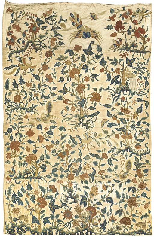 A set of four Chinoiserie embroidered hangings, chainstitched in coloured wools with a series of flowering trees rising from rockwork and bearing a variety of exotic blooms, with phoenixes and peacocks in flight between, with spotted deer and further birds below--114 x 74in. (290 x 188cm.) each, English, 18th century, re-applied to a later ground of ivory satin, outlines re-worked, re-backed, damages to ground throughout