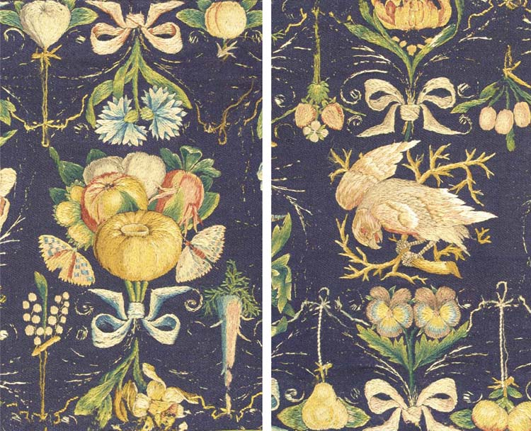 A rare and important joined chimney valence of midnight blue worsted wool, finely embroidered in richly coloured silks with rows of ribbon-tied bouquets of a variety flowers, fruits and vegetables with birds, butterflies and dragonflies between--13½ x 100in. (34.5 x 250cm.), thought to be attributed to Maria Sybilla Merion, Northern Netherlands, possibly Delft or Gouda, 17th century, light wear