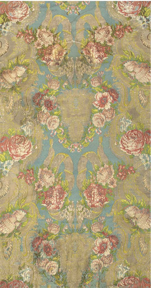 A hanging of silk brocade, the