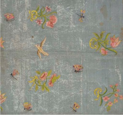 An embroidered panel of ice bl