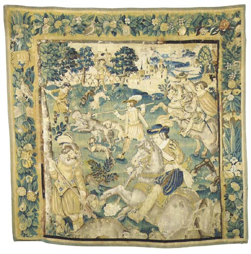 A hunting tapestry panel, wove