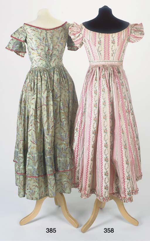 A lady's gown of striped pink