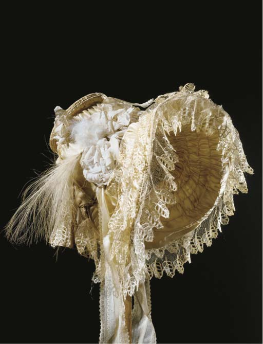 A lady's ivory satin bonnet, t
