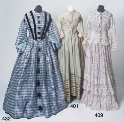 A lady's day dress of checked