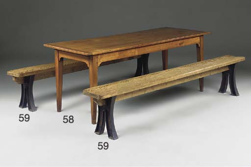 A PAIR OF PINE BENCHES