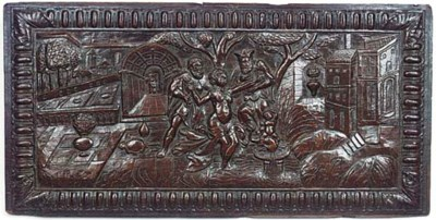 A French oak panel of Susannah