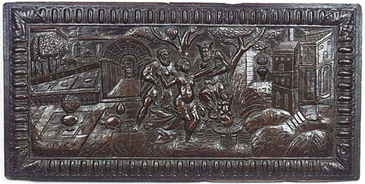 A French oak panel of Susannah and the Elders