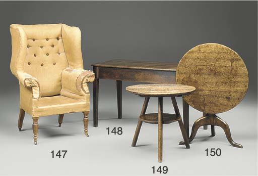 An English upholstered and oak