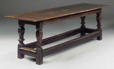 A DUTCH OAK REFECTORY TABLE