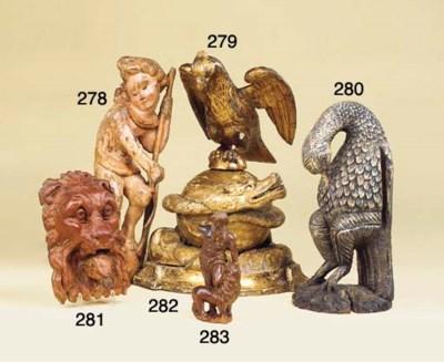A polychrome Dutch carved wood