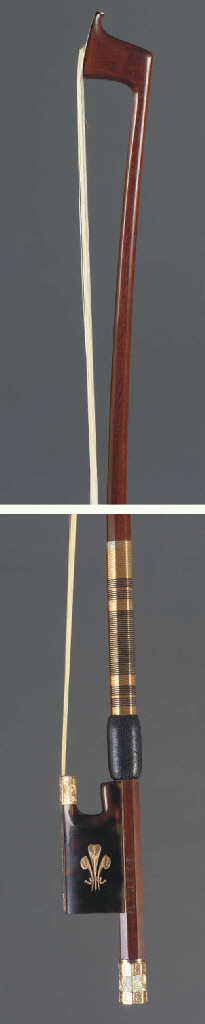 A gold and tortoiseshell mounted Violin Bow by Michael J. Taylor