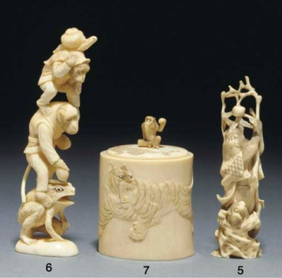 A Japanese ivory okimono of an