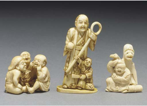 A Japanese ivory netsuke of th