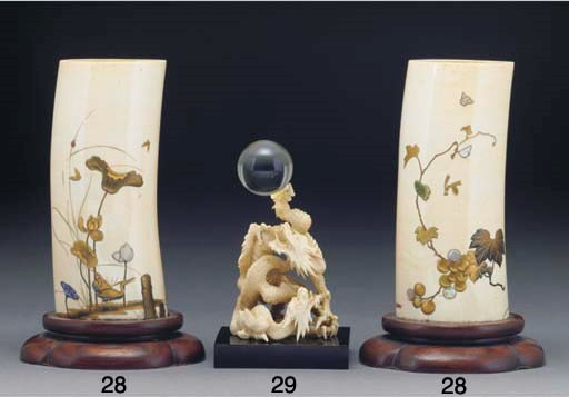 A Japanese ivory dragon stand,