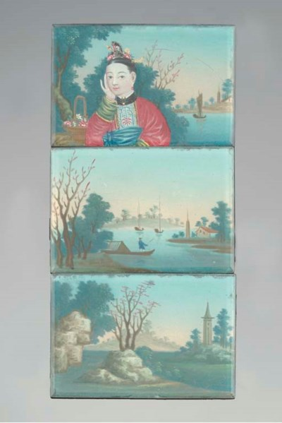 Three Chinese reverse glass mi