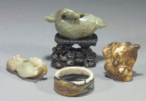 A group of Chinese jade carvin