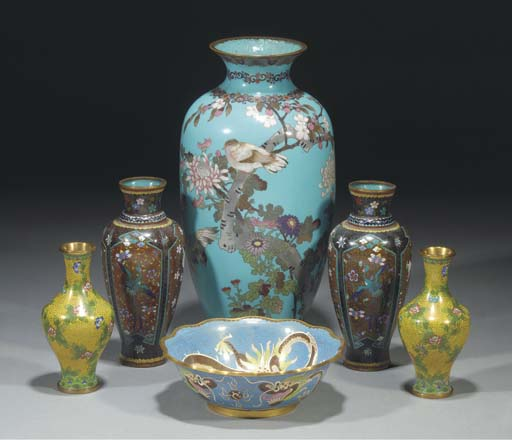 A Chinese cloisonne blue groun