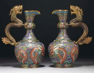 A pair of Chinese cloisonne ew