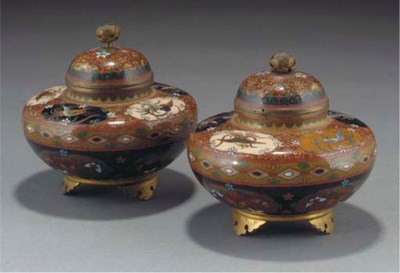 A pair of Japanese cloisonne t