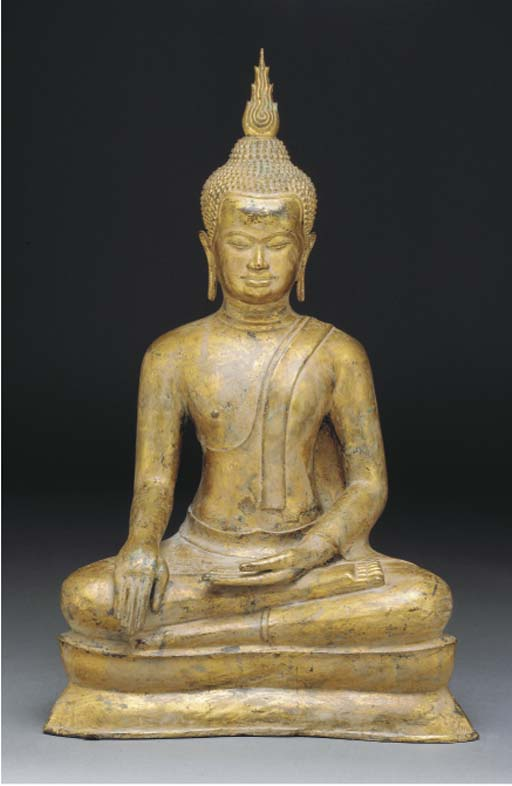 A Thai gilt bronze model of a