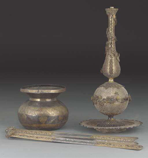 A Cantonese silver gilt filigr