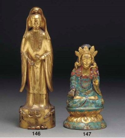 A Chinese gilt copper and cloi