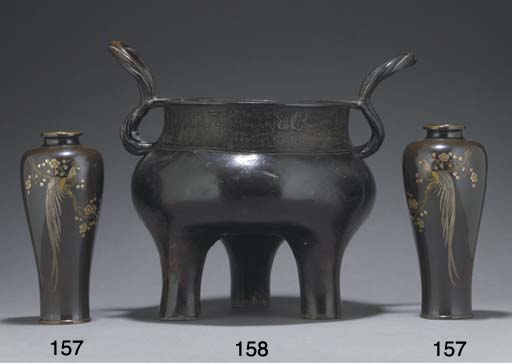 A pair of Japanese bronze tapering vases, 19th century