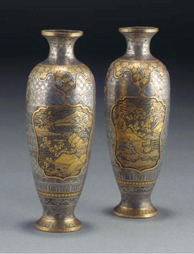 A pair of Japanese komai vases