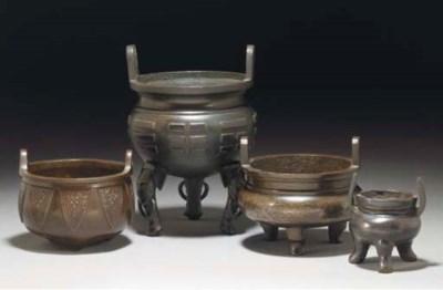 Four Chinese bronze tripod cen