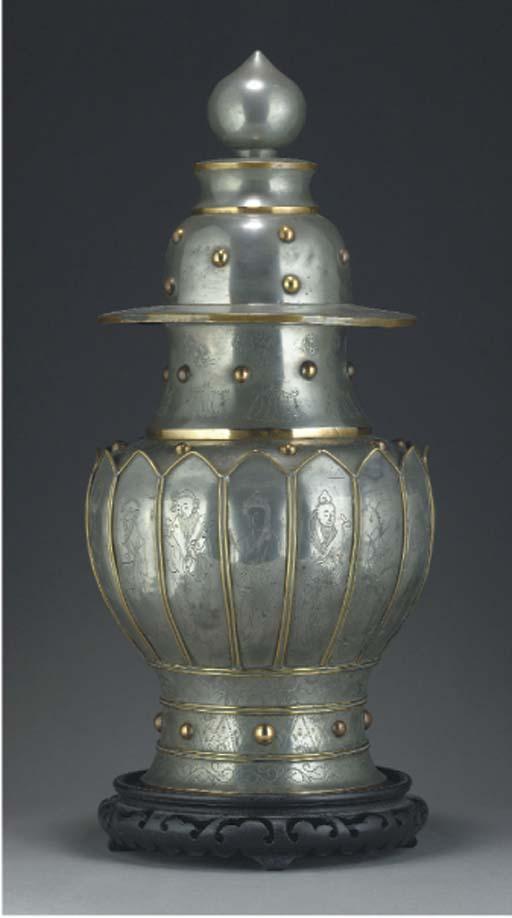 A Chinese paktong baluster vas