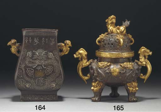 A Chinese parcel-gilt bronze t