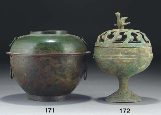 A Chinese archaic bronze twin-sectioned warming vessel, Han Dynasty and later