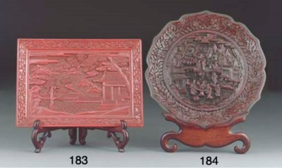 A Chinese dark red lacquer fol