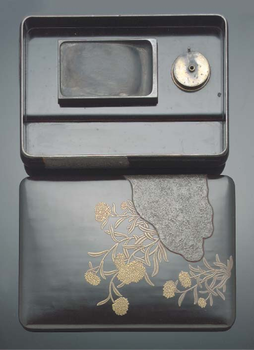 A Japanese black lacquer suzuribako, 19th century